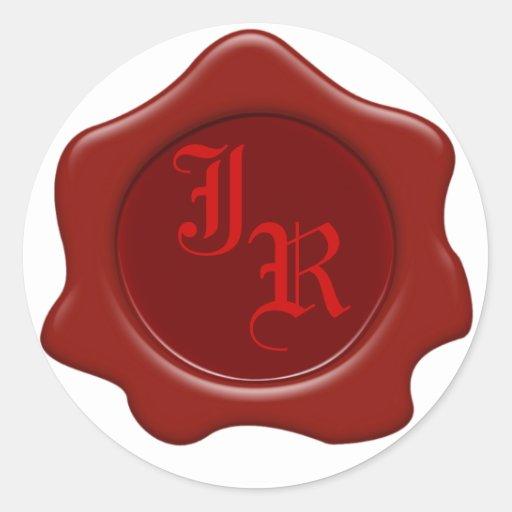 Monogram Red Wax Seal Wedding Stickers
