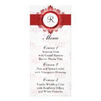 monogram red wedding menu