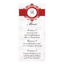 monogram red wedding menu