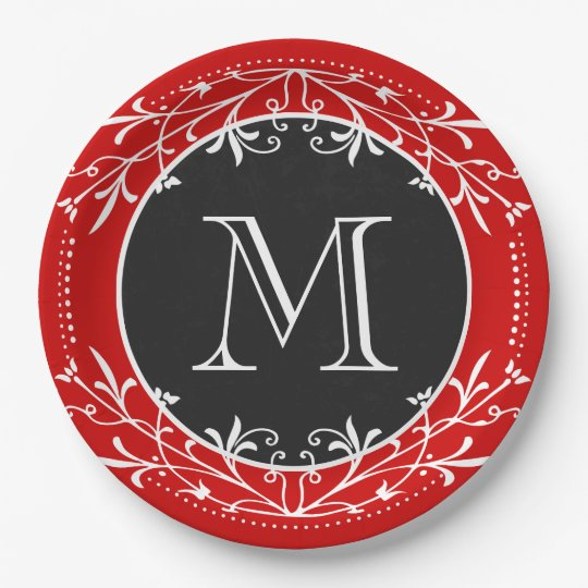 Monogram Red, White and Black Vintage Decorative Paper Plate