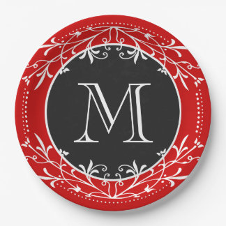 Monogram Red, White and Black Vintage Decorative 9 Inch Paper Plate
