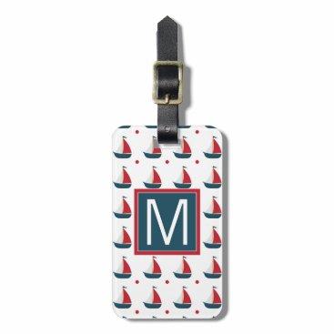 Beach Themed Monogram | Red White Blue Sailboats Bag Tag