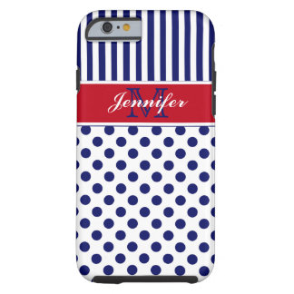 Monogram Red White Blue Striped Dots iPhone 6 case