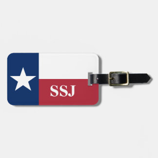 Monogram Red White Blue Texas Flag Luggage Tag