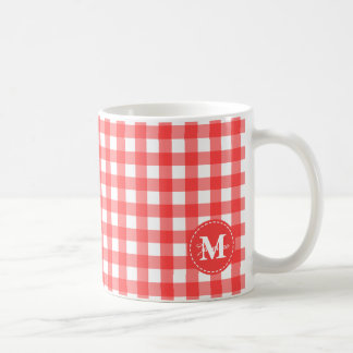 Monogram Red White Gingham Check Pattern Coffee Mug