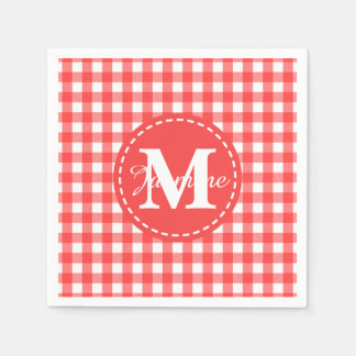 Monogram Red White Gingham Check Pattern Napkin