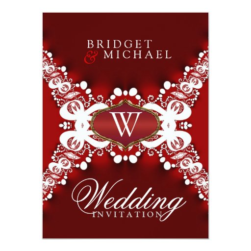 Monogram Red White Lacy Wedding Invitation