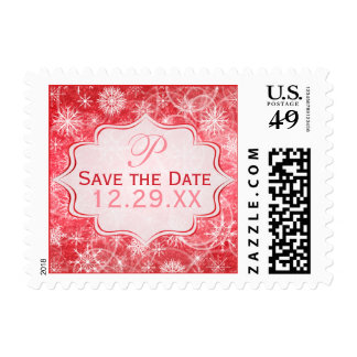 Monogram Red, White Snowflake Save the Date Stamp
