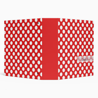 Monogram Red White Trendy Fun Polka Dot Pattern Binder