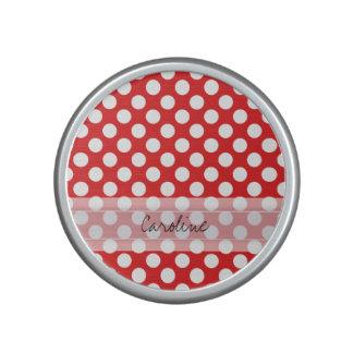 Monogram Red White Trendy Fun Polka Dot Pattern Bluetooth Speaker