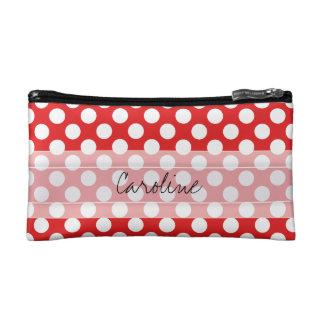 Monogram Red White Trendy Fun Polka Dot Pattern Cosmetic Bag