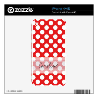 Monogram Red White Trendy Fun Polka Dot Pattern Decal For iPhone 4