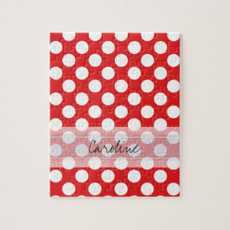 Monogram Red White Trendy Fun Polka Dot Pattern Jigsaw Puzzle
