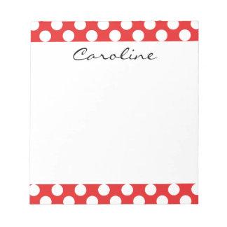 Monogram Red White Trendy Fun Polka Dot Pattern Memo Note Pad