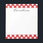 "Monogram Red White Trendy Fun Polka Dot Pattern Notepad<br><div class=""desc"">Monogram Red White Trendy Fun Polka Dot Pattern. Chic, girly, stylish, modern red white polka dot pattern with white polka dots against a red background. The design includes a transparent white sash that can be customized with your monogram or name. Personalize it further by adding photos and/or text to create...</div>"