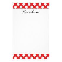 Monogram Red White Trendy Fun Polka Dot Pattern Stationery