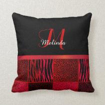 Monogram Red Wild Animal Patterns Throw Pillow
