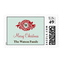 Monogram red wreath blue wedding christmas postage