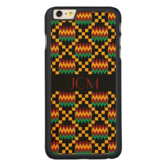 Monogram Red, Yellow, Green, Black Kente Cloth Carved® Maple iPhone 6 Plus Case