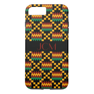 Monogram Red, Yellow, Green, Black Kente Cloth iPhone 7 Plus Case