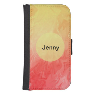 Monogram Red Yellow Texture Galaxy S4 Wallets