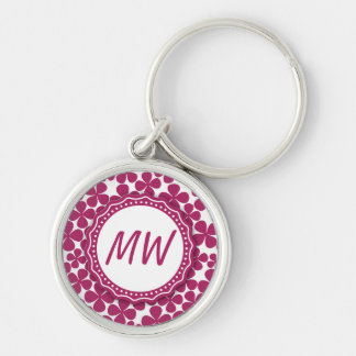 Monogram Retro Flower Pattern Acai Pink and White Keychain