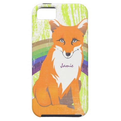 Monogram Retro Fox Art Lime Orange Retro iphone 5 iPhone 5 Case