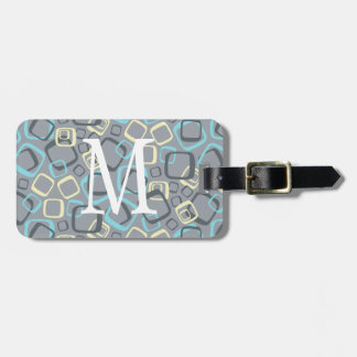 Monogram Retro Gray and Yellow Bag Tag