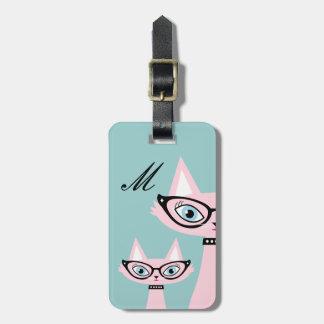 Monogram Retro Pink Cat Luggage Tag