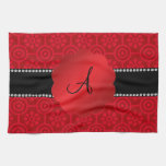 Monogram retro red flowers and circles kitchen towel