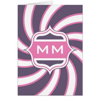 Monogram Retro Spiral Hot Pink Purple Cards