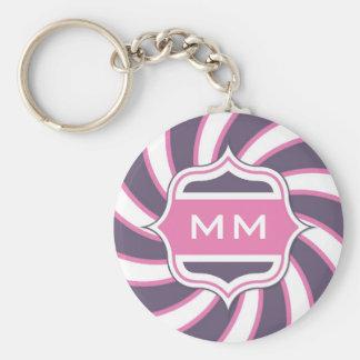 Monogram Retro Spiral Hot Pink Purple Keychain