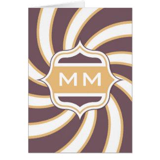 Monogram Retro Spiral orange purple Card
