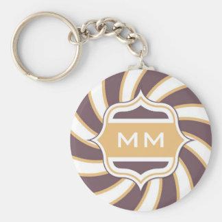 Monogram Retro Spiral orange purple Keychain