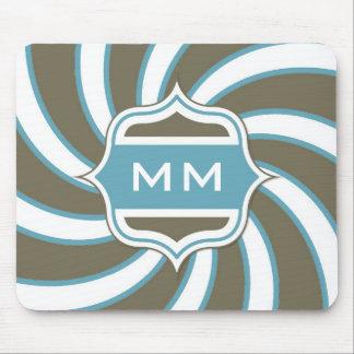 Monogram Retro Spiral Teal Chocolate Brown Mouse Pad