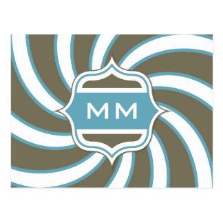 Monogram Retro Spiral Teal Chocolate Brown Postcard