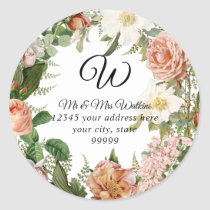 Monogram Return Address Blush Ivory Peon7 Floral Classic Round Sticker