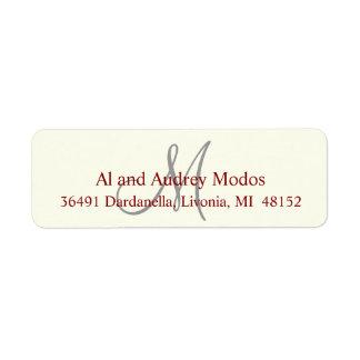 Monogram Return Address Label #FFFFF0