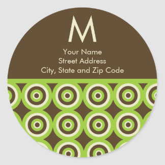 Monogram Return Address Label Green