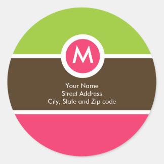 Monogram Return Address Label - Green, Pink, Brown Round Stickers