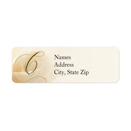 Monogram return address labels letter c zazzle for Letter return address labels