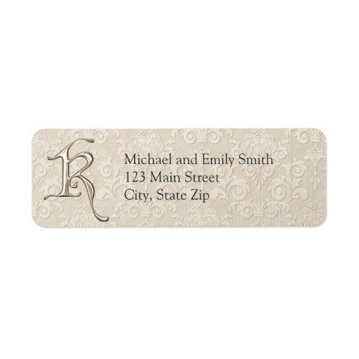 Monogram Return Address Labels Letter K