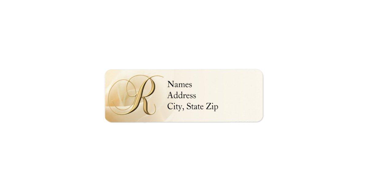 Monogram return address labels letter r zazzle for Letter return address labels