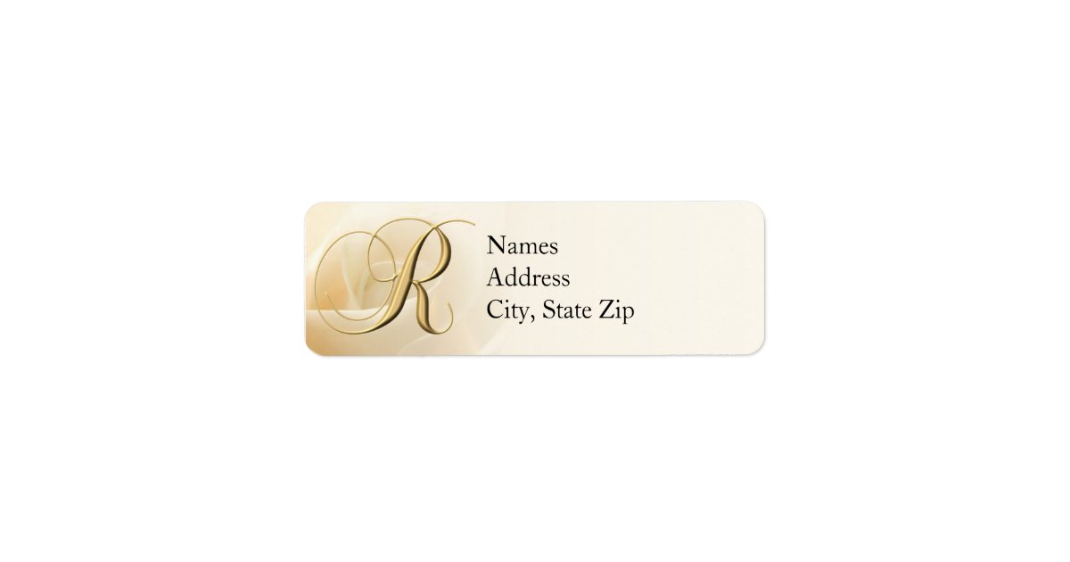 Monogram Return Address Labels Letter R