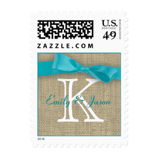 Monogram Ribbon and Burlap Love Postage Stamps
