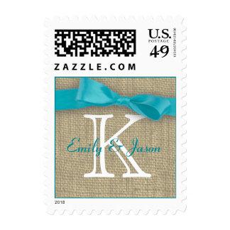 Monogram Ribbon and Burlap Love Postage Stamps