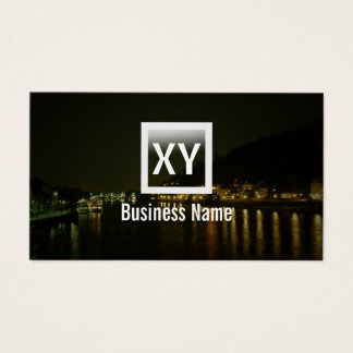 Monogram River Night View Photography Business Card