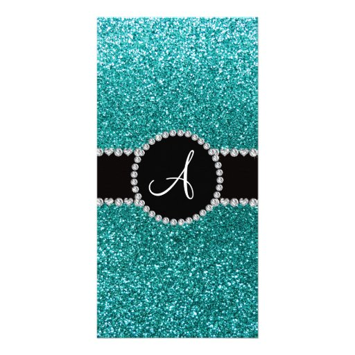 Monogram robin egg blue glitter diamond circle customized photo card