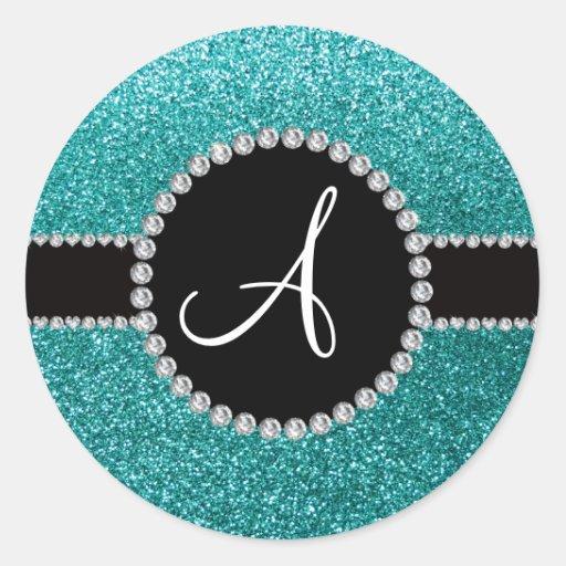 Monogram robin egg blue glitter diamond circle round sticker