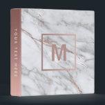 """monogram rose gold and light marble stone 3 ring binder<br><div class=""""desc"""">elegant marble look binder</div>"""